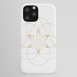 Modern Minimalist Sacred Geometry Symbol, Geometric Flower of Life in Gold and White Abstract Luxury iPhone Case