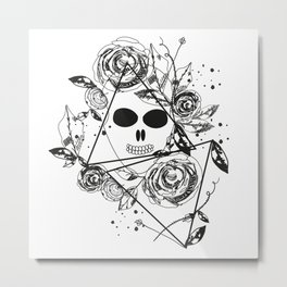 Abstract rose silhouette. Skull. Triangle geometric rose. Summer time abstract black flowers Metal Print