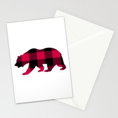 Buffalo Plaid Bear Stationery Cards
