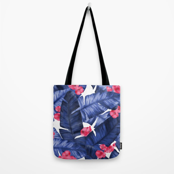 Tropical Banana Leaves With Flower Pattern Tote Bag