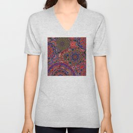 1960's Boho Chic Hippie Mandala in Red, Purple Unisex V-Neck