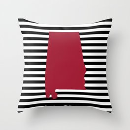 Bama crimson tide college state pattern print university of alabama varsity alumni gifts stripes Throw Pillow