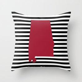 Bama crimson tide college state pattern print university of alabama varsity alumni gifts stripes Throw Pillow