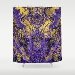 Abstract Amethyst  with gold marbled texture Shower Curtain