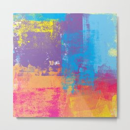 Grungy Multicolor Abstract Metal Print