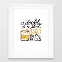 whiskey Framed Art Prints featuring whiskey by desfigure