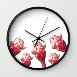 Modern Elegant Red and Black Floral Pattern Wall Clock