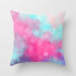 Abstract teal bright pink bokeh clouds Throw Pillow