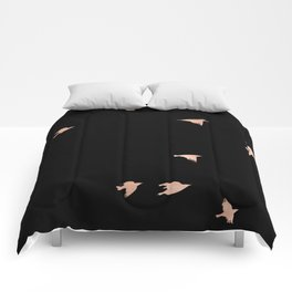 Rose Gold Black Birds Fly Free Comforters