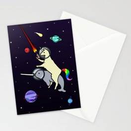 Llamacorn Riding Narwhal In Space Stationery Cards