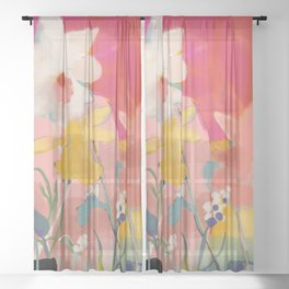 blooming abstract pink Sheer Curtain