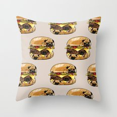 Pugs Burger Throw Pillow
