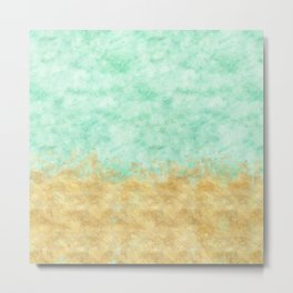 Pretty Mint Gold Glam Watercolor Metal Print