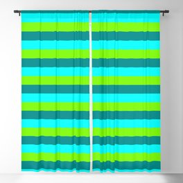 Green, Dark Cyan & Cyan Pattern of Stripes Blackout Curtain