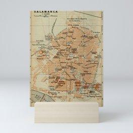 Vintage Salamanca Spain Map (1913) Mini Art Print