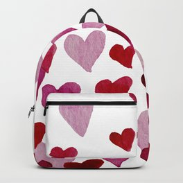Valentine's Day Watercolor Hearts - pink Backpack