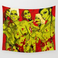 zombies Wall Tapestries featuring SEXY ZOMBIES by Thomas B.- Rock Artwork