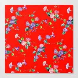 morning glories on red Canvas Print