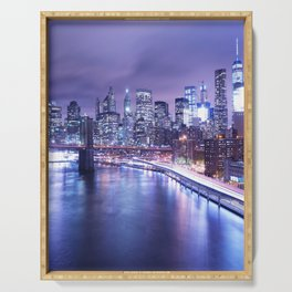 New York City Night Lights : Periwinkle Blue Serving Tray
