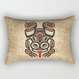Red and Black Haida Spirit Tree Frog Rectangular Pillow