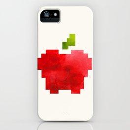 Red Macintosh Apple Watercolor Painting Pixel Digital Art Geometric Fruit Vector iPhone Case