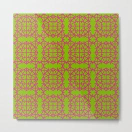 Diamond Bugs Pattern Pink Yarrow - Greenery Metal Print