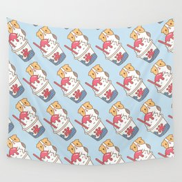 Guinea pig with kakigori Japanese shaved ice Wall Tapestry