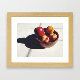 shadow of fruit in a bowl on a table  Framed Art Print