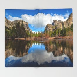 Yosemite Valley View Reflection Throw Blanket