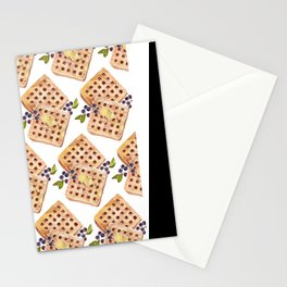 Blueberry Breakfast Waffles Stationery Cards