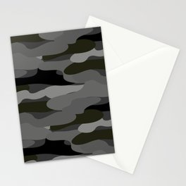 Camo-licious Collection: Classic Gray & Black Camouflage Pattern Stationery Cards