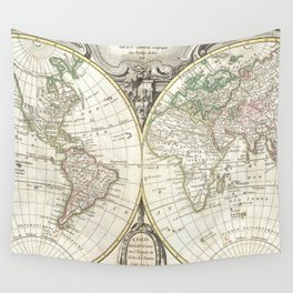 Vintage Map of The World (1775) Wall Tapestry