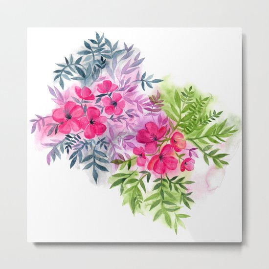 Dual Bouquets - a watercolor floral Metal Print