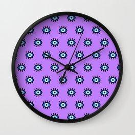Evil Eye on Purple Wall Clock