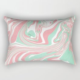 Elegant pink green abstract watercolor marble Rectangular Pillow