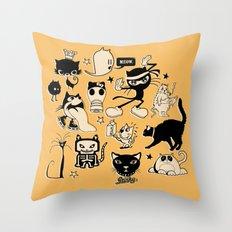 Cat Menagerie Throw Pillow