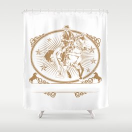 Illustration of cowboys riding horse Shower Curtain