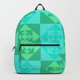 Blue & Green Geometric Triangles Digital Pattern Backpack