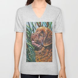 brown Newfoundland dog portrait art from an original painting by L.A.Shepard Unisex V-Neck