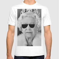 BE COOL - The Queen White MEDIUM Mens Fitted Tee