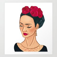 Frida Khalo Illustration by Patricia Falls Art Print