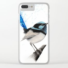 Blue Wren Clear iPhone Case