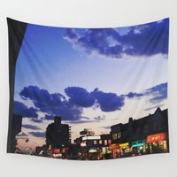 shopping Wall Tapestries featuring City Shopping by SHAY VA VOOM