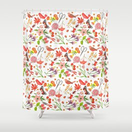Red Repeat Gardening Shower Curtain