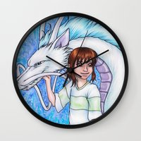 chihiro Wall Clocks featuring Spirited Away Chihiro and Haku by Kimberly Castello