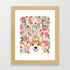 Welsh Corgi cute flowers spring summer garden dog portrait cute corgi puppy funny god illustrations Framed Art Print