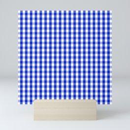 Cobalt Blue and White Gingham Check Plaid Squared Pattern Mini Art Print