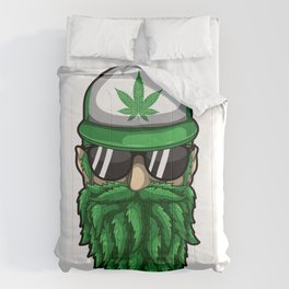 Beard from Cannabis Leaves - Weed Hipster Smoker Comforters