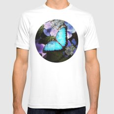 Morpho Bleu Mens Fitted Tee MEDIUM White