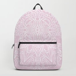 White Mandala on Pastel Pink Linen Textured Background Backpack